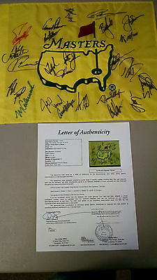 Masters Multi Signed Flag HOF Stars Champions 24 Palmer Couples Norman Kite JSA
