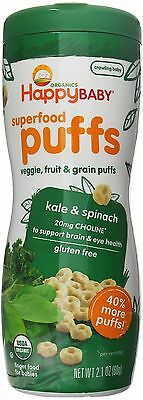 Happy Baby Organic Superfood Puffs Kale & Spinach 2.1 Ounce (Pack of 6)