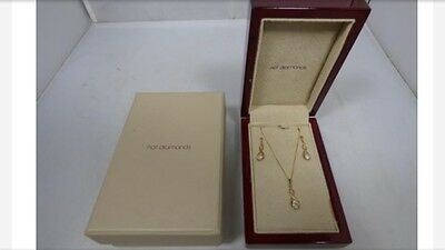 Hot Diamonds 9ct Gold Necklace And Earrings