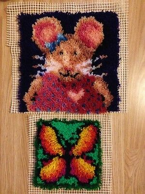 2 Latch Hook Completed Pieces, Mouse Latch Hook, Butterfly Latch Hook, Completed