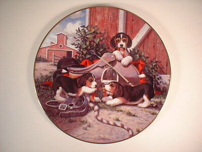 """""""Saddling Up"""" - All in a Day's Work - Jim Lamb - Dog Collector Plate"""