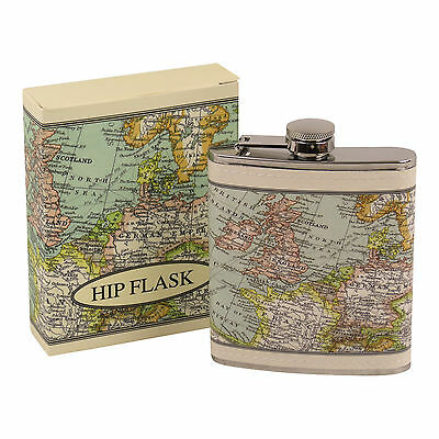 Vintage World Map 7Oz Stainless Steel Hip Flask Faux Leather Cover Gift Groom