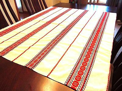 "Vintage Red White 54"" x 54"" Embroidered Scandinavian Swedish Woven Tablecloth b6"