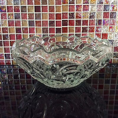Vintage Glass Fruit Strawberry Trifle Salad Serving Bowl Dish