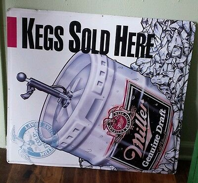 Big Vtg Metal Liquor Store Advertising Sign Miller Genuine Draft Kegs Sold Here