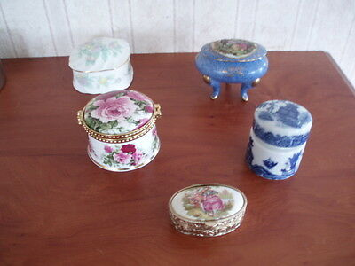 5 Continental & Fenton China Pill Boxes Classical And  Floral Decoration