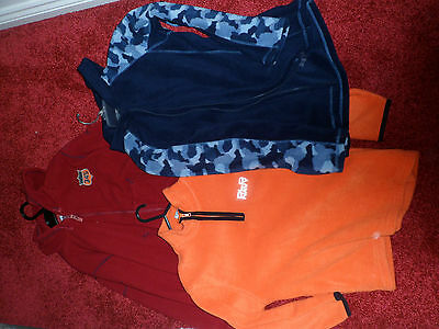 Set of three used fleece jumpers - age 8 and 12