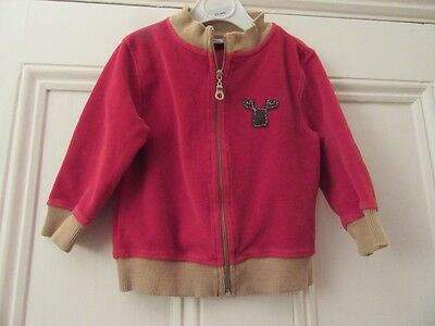 12-18: Cute zip-thru jacket/cardigan - Red velour/tan elbow patches - DPam