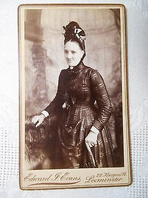 Antique CDV Photo VICTORIAN LADY BLACK MOURNING DRESS UMBRELLA HAT LEOMINSTER