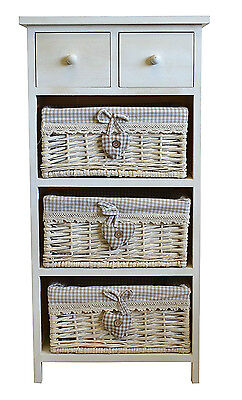 White Chest of Drawers Storage Cabinet Unit Wicker Baskets Shabby Chic Bedroom