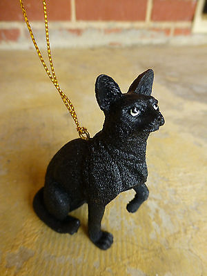 Christmas Holiday Black Cat Ornament Green Eyes Adorable