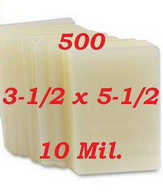 10 Mil Laminating Laminator Pouches Sheets 3-1/2 x 5-1/2 Index Card 500- Pack