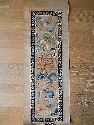 Antique 19th Century Chinese Hand Embroidered Silk Floral Scroll Textile Panel