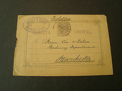 Spain 10 Centimos Card 1888 Barcelona To Manchester