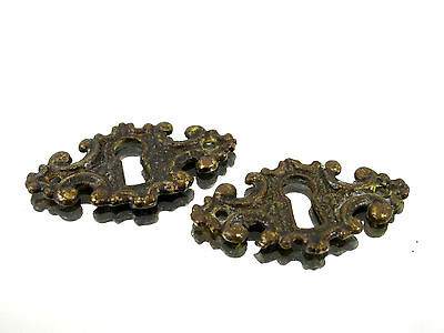 Set of (2) Vintage Brass Key Hole Locks Overlay Cabinet Dresser Hutch Ornate 2""