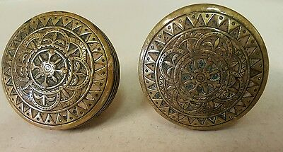 Antique Ornate Fancy Solid Brass Doorknobs Heavy Unique With Spindle