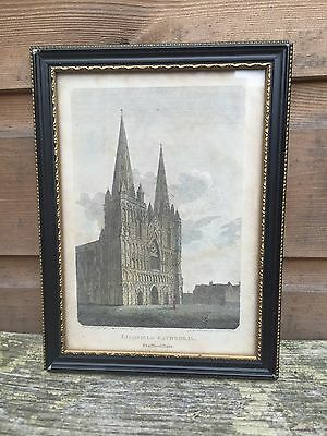Antique Lichfield Cathedral Staffordshire 1810 Framed Sealed Print Engraving