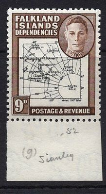 "#1144  Falkland Island Dependencies. KG VI 9d Thick map. Missing top to ""t"""