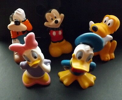 """5 vintage disney figures Mickey Mouse , Pluto, Donald Duck etc .. 5"""" tall"""