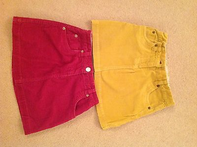 JOHN LEWIS Girls Pink and Yellow cord skirts age 6 adjustable waist