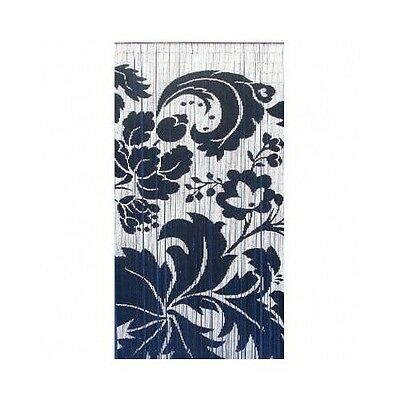 Bamboo Bead Curtain Room Divider Blue White Floral Wall Hanging Doorway Panel