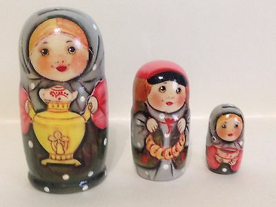NEW Russian Hand Painted Nesting Doll Children 3 pcs Piece Set Made in Russia