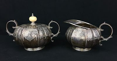 Early 1900s English Sterling Silver Creamer & Sugar Set by Mappin & Webb London