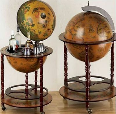 Antique Vintage Bar Globe Retro Wine Drinks Wooden Cabinet Trolley Map Container