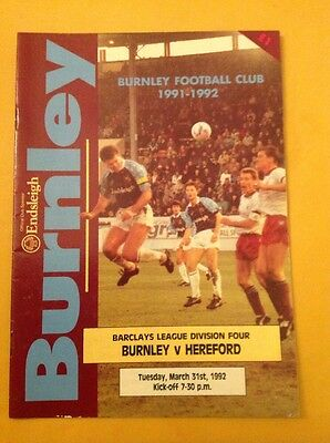 Burnley v Hereford football programme, 31 March 1992