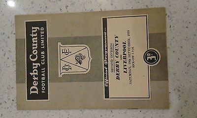 Derby County V Liverpool 1959/60 Football Programme