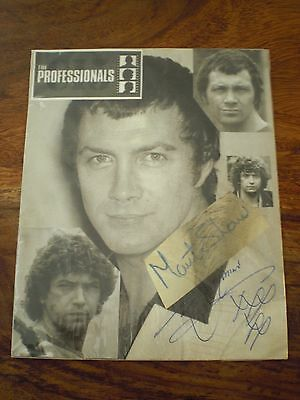 the professionals lewis collins and martin shaw hand signed autographs,