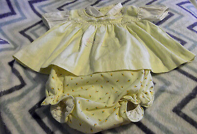 Vintage  2 piece Baby Girl yellow Dress with bloomers