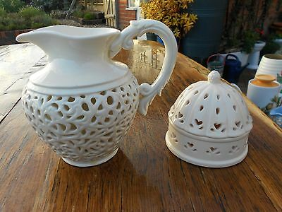 Regal House Porcelain Creamware Jug and Creamware Trinket Box with Domed Lid