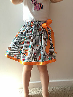 Animals skirt for 4-6yrs girls cotton skirt. Grey handmade skirt for toddlers