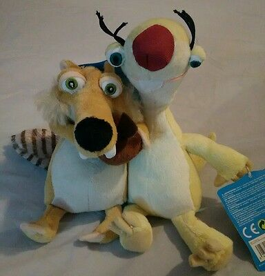 Two Ice Age plush toys Sid and Chipmunk 9 inch New.