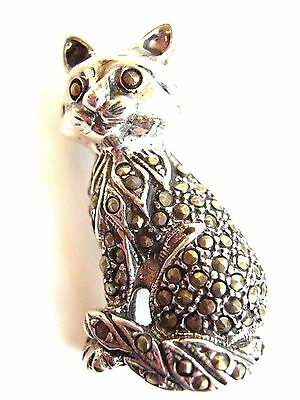Sterling Silver Marcasite kitty cat Feline brooch 3 cm Vintage look Kitten Pin