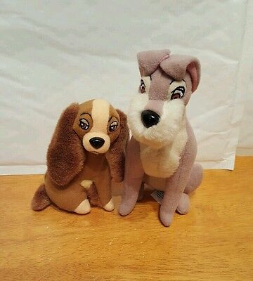 """Lady and the Tramp soft toys Disney classics 4.5"""" and 6 5"""""""