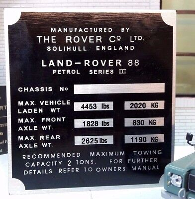 Land Rover Series 1 2 2a 3 Warning Wading Depth Bulkhead Plaque Plate /& Screws