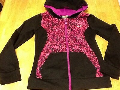 C9 Champion Duo Dry Girls Hooded Zip Up Sweatshirt , Size M 7-8, Black & Purple