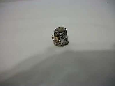 New Orleans French Quarter Pewter Thimble, Horse And Buggy Charm Attached