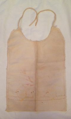 Antique Lined Baby Bib With Embroidered Chicks