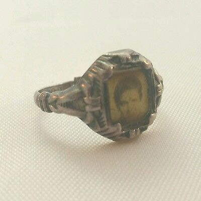 Art Deco Sterling Silver Mourning Ring Photo Sweetheart Jewelry momento mori