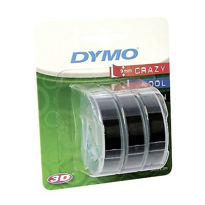 Dymo Embossing Tape Self-Adhesive 9 mm x 3 m - White Print on Black Pack of 3