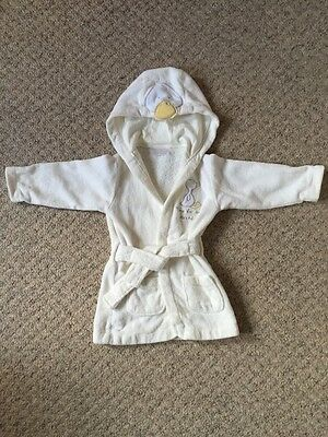 Unisex Embroidered Duck Cream Dressing Gown With Hood 9-12 Months
