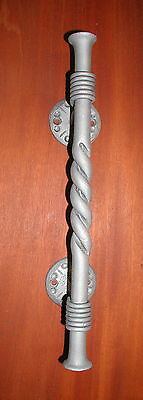 Gothic Wrought Iron Door Pull, Handle with Upset Ends & Twisted, by Blacksmiths