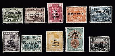 IRAQ ,1923 Stamps On State Service English Script Set 1/2 Anna Up 2 Rupees - MH
