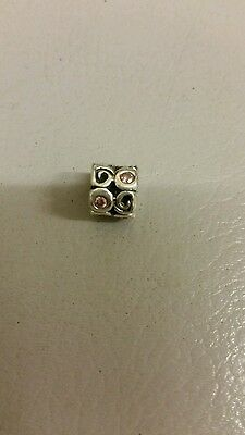 Pandora 925 Ale sterling silver charm with pink stones