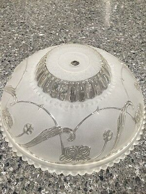 Vintage Art Deco Mid-Century Frosted-Clear Glass Ceiling Light Fixture Shade