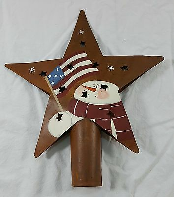 Primitive Country Rusty Metal Star Tree Topper Cut Out Stars US Flag Snowman