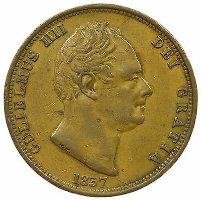 Great Britain, William Iv Half-Penny, 7 Over 7 In Date, Rare, 1837